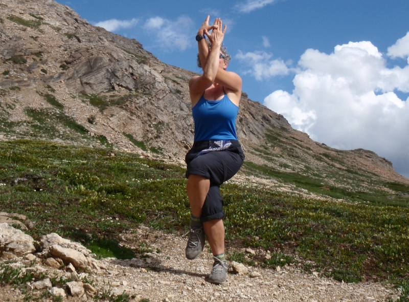 Jenny was inspired to do in Eagle Pose (Garudasana) near Dolomite Pass, Banff National Park as there was a Golden Eagle flying overhead.  (Photo by Ian Hatter)