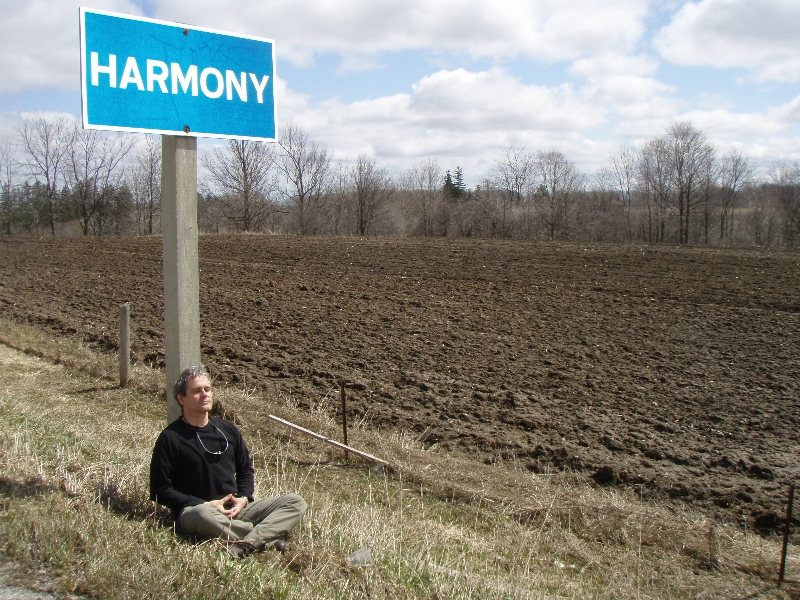 Ian finds Harmony while meditating in southern Ontario. He is in Easy Pose (Sukasana) with the classic Buddhist meditation mudra (Photo by Jenny Feick).