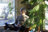 Ian meditating at home in Victoria, Vancouver Island, B.C. (Photo by Jenny Feick)