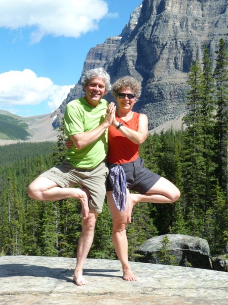 Ian and Jenny doing Double Tree Pose (Vriksasana) in Paradise Valley Trail below Mount Temple, Banff National Park, Alberta (Photo by Gwen Smiley).