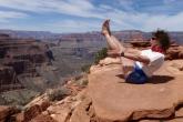 Jenny in Full Boat Pose (Paripurna Navasana) along the Bright Angel Trail above the Grand Canyon, Arizona, USA (Photo by Ian Hatter)