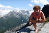 Jenny in Figure Four Pose (Eka Pada Utkatasana) on Abbot Ridge, Glacier National Park, B.C. (Photo by Ian Hatter).