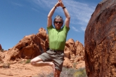 Ian in Tree Pose (Vrikshasana), Valley of Fire State Park, Nevada, (Photo by Jenny Feick).