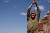 Ian in Tree Pose (Vrikshasana), Needles area of Canyonlands National Park, Utah, (Photo by Jenny Feick).