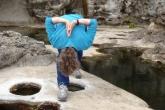 Jenny in Pyramid Pose (Parsvottanasana) at Botanical Beach, Juan de Fuca Provincial Park, Vancouver Island, B.C. (Photo by Ian Hatter).