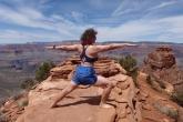 Jenny in Warrior Two Pose (Virabhadrasana II) along the South Kaibab Trail, Grand Canyon National Park, Arizona (Photo by Ian Hatter).