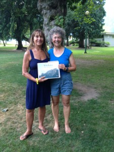 Jenny receiving her YogAlign teacher certificate from Michaelle Edwards, developer of the YogAlign Method, in July 2014, in Nelson, British Columbia, Canada.