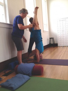 "Michaelle Edwards and fellow student Barb Minichiello assisting Jenny to safely align herself in Forearm Balance (Pincha Mayurasana) during YogAlign Teacher Training. ""Engage your lower Trapezius and Latissimus dorsi muscles, and relax your head and neck."""