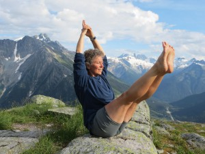 Jenny doing Full Boat Pose (Paripurna Navasana ) at the top of the Hermit Trail near Rogers Pass in Glacier National Park, B.C.  In addition to activating your core muscles, finding stability in this asana can help align and calm your body, mind, and emotions.