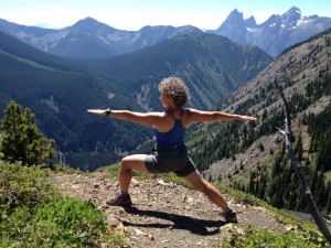 Jenny doing Warrior 2 (Virabhadrasana II) along the Skyline Trail in Manning Provincial Park, B.C.  This pose strengthens your shoulders, arms, thighs, legs and ankles while it improves your balance, concentration and core awareness.