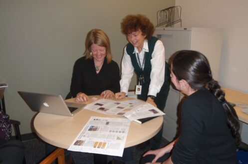 Jenny working with Robyn Hooper and Ryan Hilperts on the Environmental Mitigation Policy for the BC government, 2011