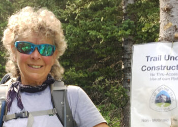 Jenny Feick on a Great Divide Trail Association work party in July 2018.