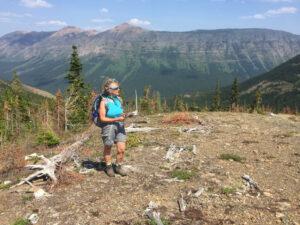 Jenny Feick at the Great Divide at South Kootenay Pass 2018