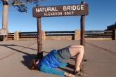 Jenny in Bridge Pose (Setu Bandha Sarvangasana) at the Natural Bridge in Bryce Canyon National Park, Utah, USA (Photo by Ian Hatter)
