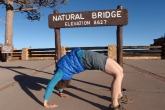 "Jenny in full ""Upward Bow"" or ""Wheel"" Pose (Urdhva Dhanurasana)  at the Natural Bridge in Bryce Canyon National Park, Utah, USA (Photo by Ian Hatter)"