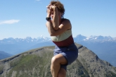 Jenny in Eagle Pose (Garudasana) on Whistler Mountain, Jasper National Park, B.C. (Photo by Ian Hatter)