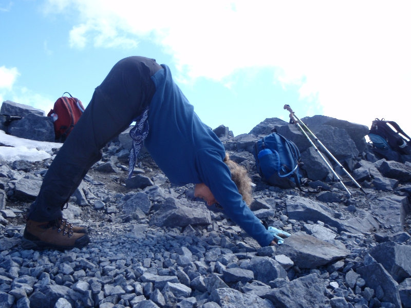 Downward Facing Dog on top of Mount Temple, BNP, AB