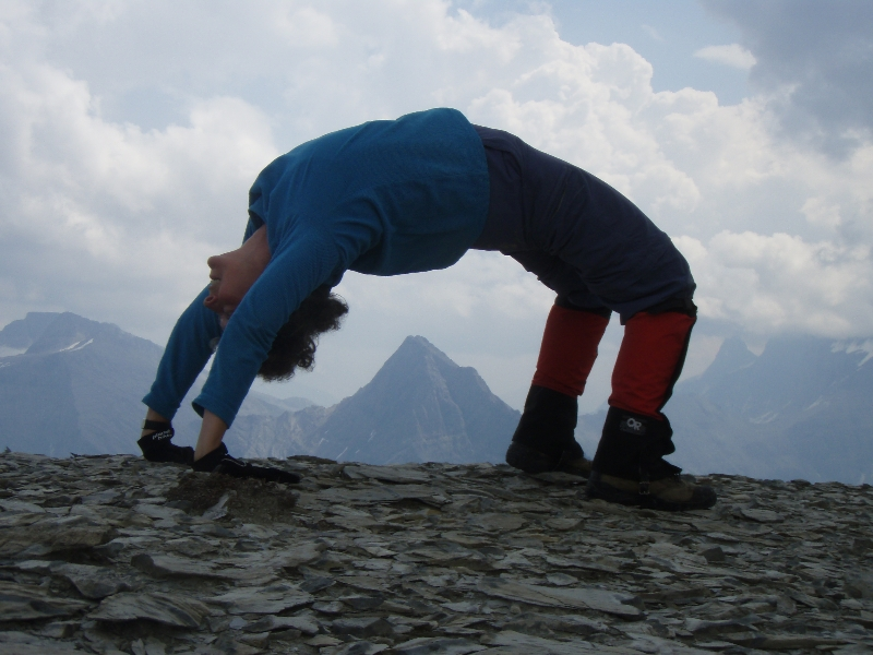 "Jenny in full ""Upward Bow"" or ""Wheel"" Pose (Urdhva Dhanurasana) on Royal Ridge above Talus Lodge, B.C. (Photo by Ian Hatter)"