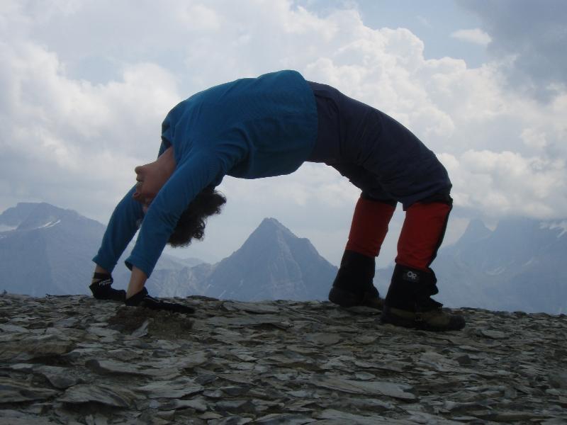 "Jenny in full ""Upward Bow"" or ""Wheel"" Pose (Urdhva Dhanurasana) on Royal Ridge above Talus Lodge, B.C. (Photo by Ian Hatter)"