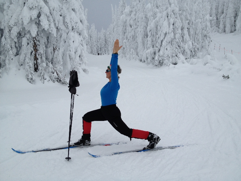 Jenny in High Lunge (Ashwa Sanchalanasana) on cross-country skis at Sovereign Lakes Provincial Park, near Vernon, B.C. (Photo by Ian Hatter).