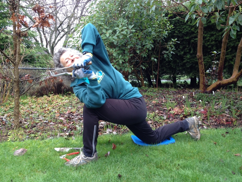 Jenny in Half Revolved Prayer Twist (Ardha Parivritta Parsvokonasana) in her yard in Esquimalt (Victoria), Vancouver Island, British Columbia (Photo by Ian Hatter)