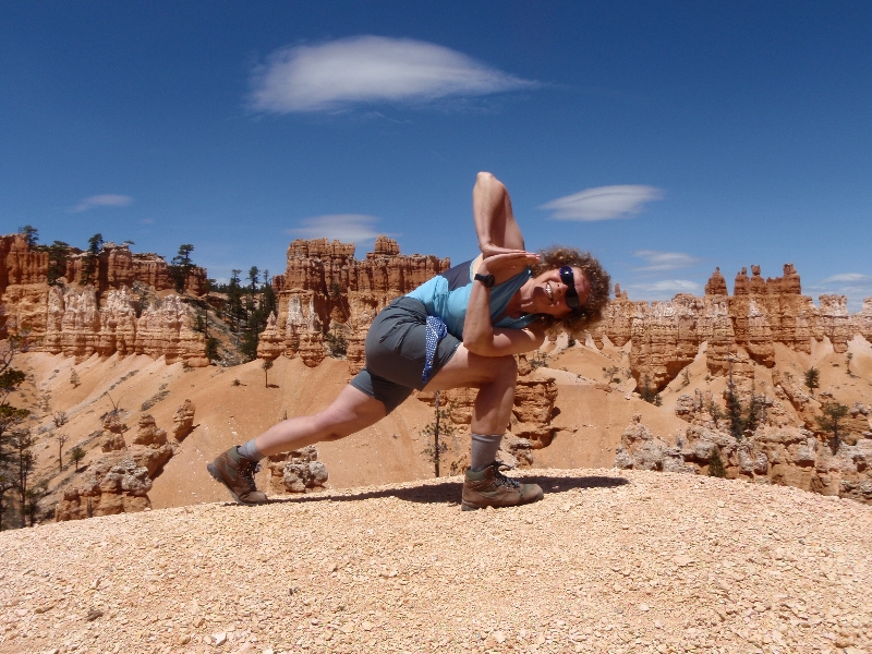 Jenny in Revolved Prayer Twist (Parivritta Parsvokonasana) at Bryce Canyon National Park, Utah (photo by Ian Hatter)