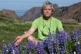 Ian meditating amid the wild alpine lupines (Lupinus) of Klahane Ridge, Olympic National Park, Washington State (Photo by Jenny Feick).