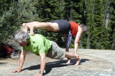 Ian and Jenny in Double Plank Pose (Adho Vitiyasana) near the Giant Steps along the Paradise Valley Trail, in Banff National Park, Alberta (Photo by Gwen Smiley).