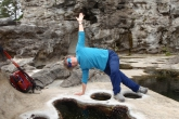 Jenny in an easier variation of Side Plank Pose (Vasisthasana), albeit one that provides an amazing stretch for the hip muscles, at Botanical Beach, along the Juan de Fuca Trail, Vancouver Island, B.C. (Photo by Ian Hatter).