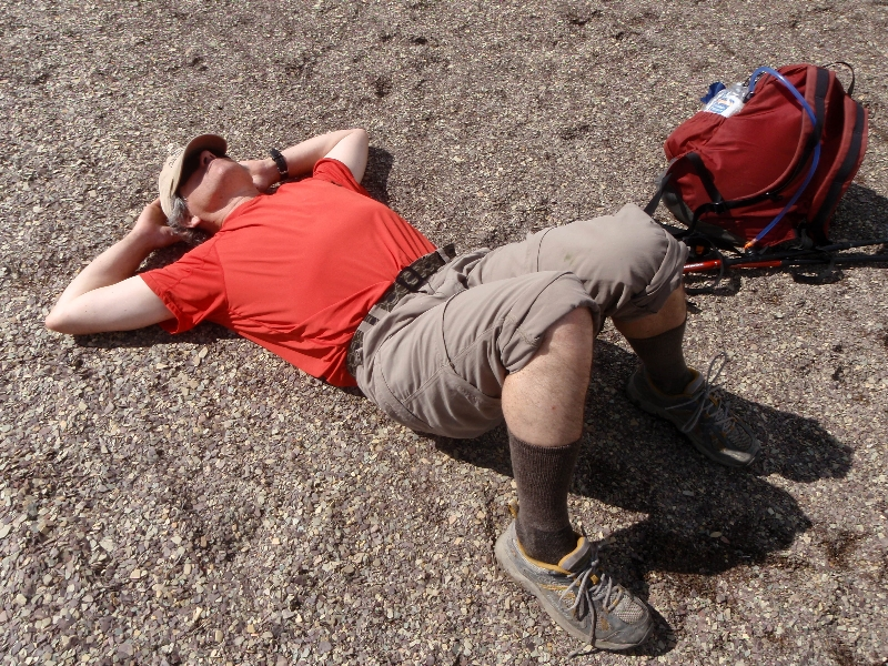 Ian in a version of Savasana that releases discomfort and tightness in the lower back, near Katharine Lake, Banff National Park, Alberta (Photo by Jenny Feick).