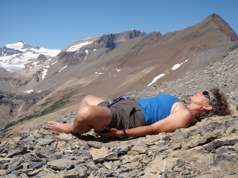 Jenny in Reclined Bound Angle Pose (Supta Baddha Konasana) also known as Reclined Butterfly, or Reflection Pose.