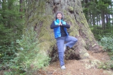 Jenny in Tree Pose (Vrikshasana), hands in prayer position (Anjali Mudra), at the base of one of the many huge Douglas Firs in Olympic National Park, Washington State (Photo by Ian Hatter).